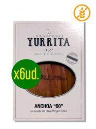 Pack Anchoas del Cantábrico medida 00 en aceite de oliva - Bandeja de 100grs x 6ud. - Yurrita Gastronomika