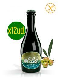 Caja de Cerveza Verde Artesana de Olivas - Sin Gluten - Botella de 33Cl. x 12ud. - Oliba Green Beer - Valle de Barcedana - Lleida