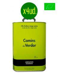 Caja Aceite de Oliva Virgen Extra - Ecológico - Lata de 3 litros - Camins de Verdor - Belianes - Lleida