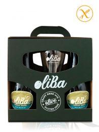 Estuche regalo Cerveza Verde Artesana de Olivas - Sin Gluten - 4 Ud. Botella de 33Cl. y Vaso Exclusivo - Oliba Green Beer
