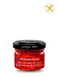 Mermelada de Frambuesas con pétalos de rosa y pimienta de Sichuan - Frasco 70grs. - Just for Cheese Can Bech