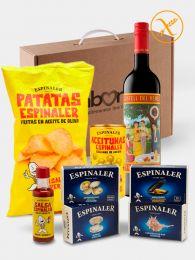Pack Aperitivo Gourmet con Vermut Castell del Remei, y conservas del mar, patatas fritas y aceitunas