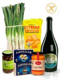 Pack Calçotada - 25 Calçots de Tarragona - Cerveza Oliba Green Beer - Aperitivos Espinaler - Salsa Ferrer de 320grs.