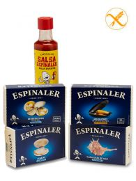 Pack Llevant Espinaler de - Almejas - Berberechos - Mejillones - Caracoles de Mar - Salsa aperitivo - Espinaler