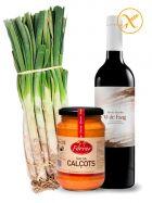 Pack Calçotada - 25 Calçots de Tarragona - Vino de Barro DO Conca de Barberà - Salsa Ferrer de 320grs.