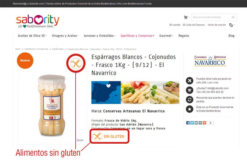 Ejemplo de descripción de un alimento sin gluten