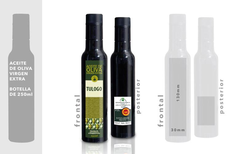 Personalización y medidas de Etiquetas de Aceite de Oliva por 1 Cara