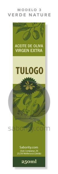 Etiqueta prediseñada de aceite de verde nature
