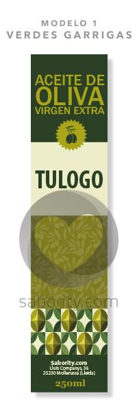 Modelo 1 - Verdes Garrigas - Etiquetas Prediseñadas de Aceite de Oliva