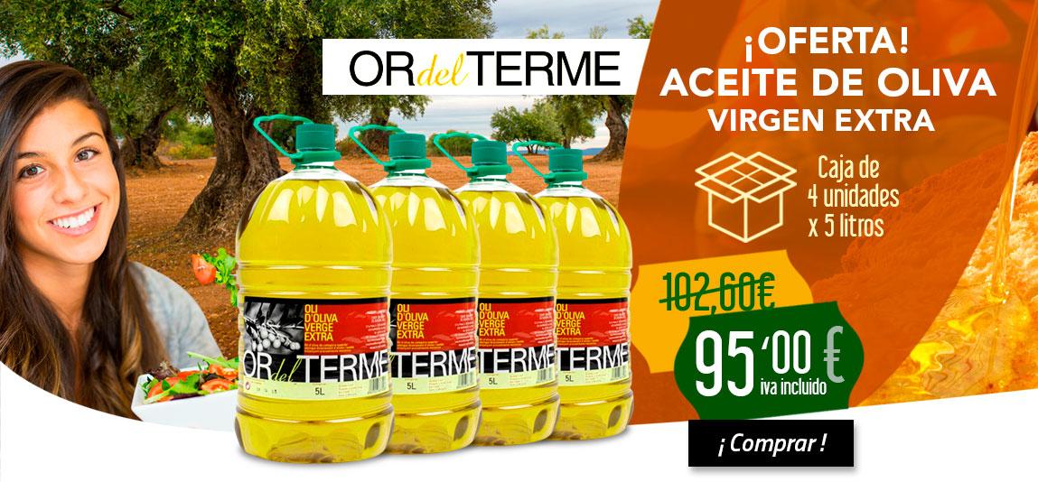 Oferta Caja 4 garrafas de aceite de oliva virgen extra Or del terme