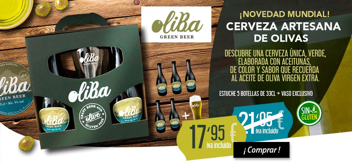 Estuche de Oliba Green Beer, cerveza artesana verde, de aceitunas arbequina