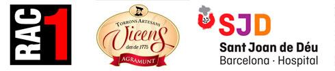 Logos de Rac1, Torrons Vicens y Hospital Sant Joan de Déu